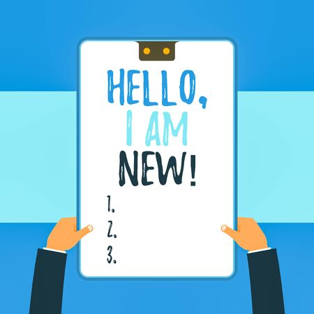Handwriting text writing Hello I Am New. Conceptual photo introducing oneself in a group as fresh worker or student Two executive male hands holding electronic device geometrical background