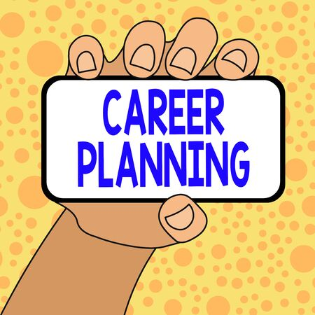 Writing note showing Career Planning. Business concept for Strategically plan your career goals and work success Closeup of Smartphone in Hand with Blank Screen and Text Space