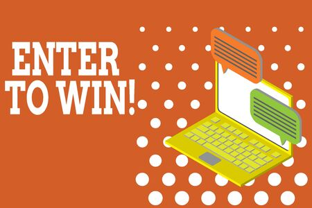 Word writing text Enter To Win. Business photo showcasing exchanging something value for prize chance winning prize Laptop receiving sending information conversation texting internet wireless