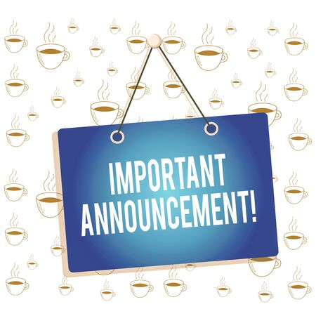 Writing note showing Important Announcement. Business concept for spoken statement that tells showing about something Memo reminder empty board attached background rectangle