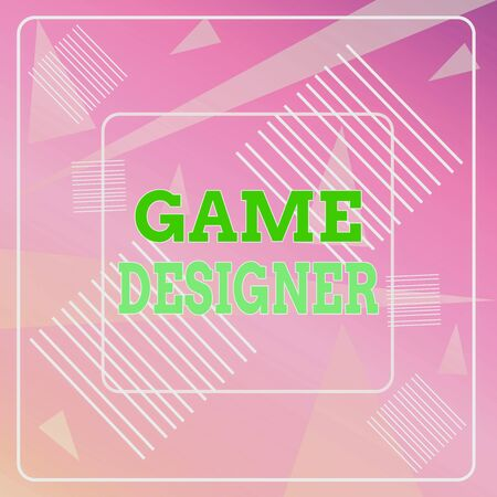 Word writing text Game Designer. Business photo showcasing Campaigner Pixel Scripting Programmers Consoles 3D Graphics Geometric Background Pastel Pink 12 Dash Squares SemiTransparent Triangles Stock Photo