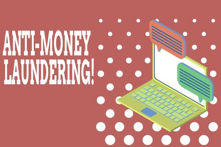 Word writing text Anti Money Laundering. Business photo showcasing regulations stop generating income through illegal actions Laptop receiving sending information conversation texting internet wireless