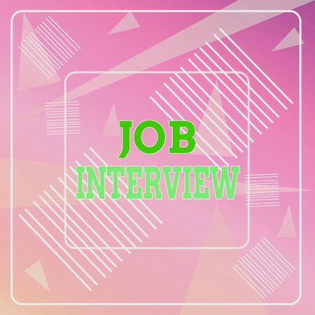 Word writing text Job Interview. Business photo showcasing Assessment Questions Answers Hiring Employment Panel Geometric Background Pastel Pink 12 Dash Squares SemiTransparent Triangles Stock Photo