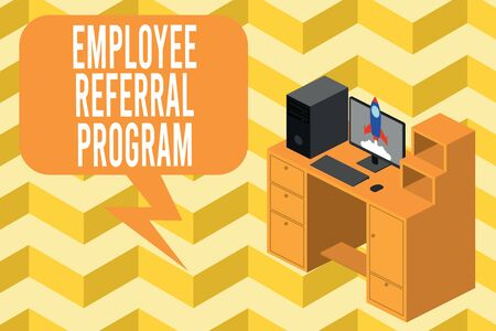 Writing note showing Employee Referral Program. Business concept for employees are rewarded for introducing recruits Desktop station drawers personal computer launching rocket