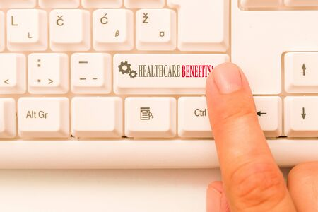 Conceptual hand writing showing Healthcare Benefits. Concept meaning monthly fair market valueprovided to Employee dependents White pc keyboard with note paper above the white background
