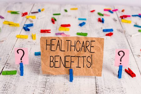 Text sign showing Healthcare Benefits. Business photo text monthly fair market valueprovided to Employee dependents Scribbled and crumbling sheet with paper clips placed on the wooden table