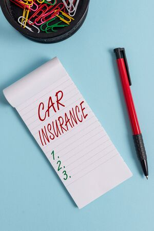 Writing note showing Car Insurance. Business concept for Accidents coverage Comprehensive Policy Motor Vehicle Guaranty Notebook and stationary with mouse above pastel backdrop Reklamní fotografie