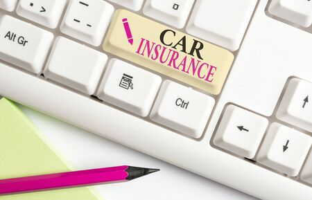 Handwriting text writing Car Insurance. Conceptual photo Accidents coverage Comprehensive Policy Motor Vehicle Guaranty White pc keyboard with empty note paper above white background key copy space