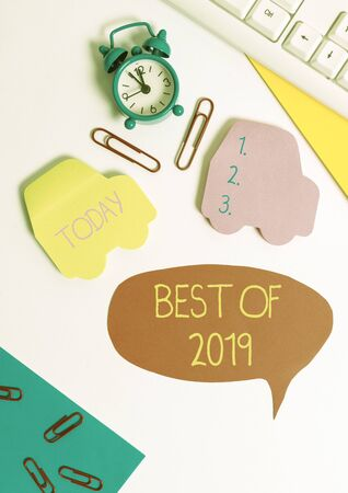 Word writing text Best Of 2019. Business photo showcasing great and marvelous things and events happened on 2019 Flat lay with copy space on bubble paper clock and paper clips Stock Photo
