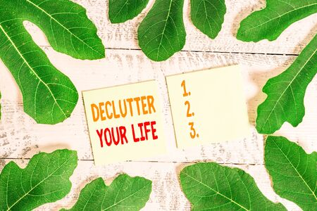 Text sign showing Declutter Your Life. Business photo showcasing To eliminate extraneous things or information in life 写真素材