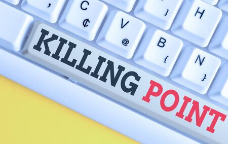 Text sign showing Killing Point. Business photo text Phase End Review Stage Gate Project Evaluation No Go White pc keyboard with empty note paper above white background key copy space