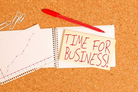 Word writing text Time For Business. Business photo showcasing fulfil transactions within period promised to client Desk notebook paper office cardboard paperboard study supplies table chart