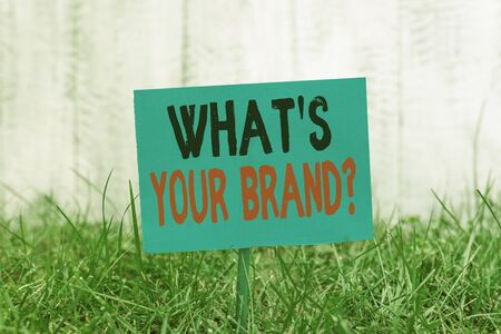 Handwriting text What S Your Brand Question. Conceptual photo asking about product logo does or what you communicate Plain empty paper attached to a stick and placed in the green grassy land