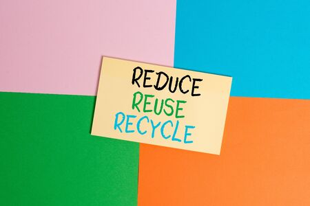 Text sign showing Reduce Reuse Recycle. Business photo text environmentallyresponsible consumer behavior Office appliance colorful square desk study supplies empty paper sticker