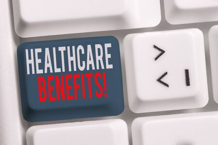 Handwriting text writing Healthcare Benefits. Conceptual photo monthly fair market valueprovided to Employee dependents White pc keyboard with empty note paper above white background key copy space 写真素材 - 129852293