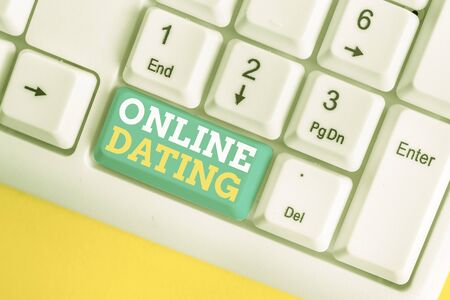 Writing note showing Online Dating. Business concept for Searching Matching Relationships eDating Video Chatting White pc keyboard with note paper above the white background