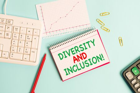 Conceptual hand writing showing Diversity And Inclusion. Concept meaning range huanalysis difference includes race ethnicity gender Paper blue keyboard office study notebook chart numbers memo