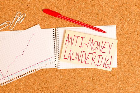 Word writing text Anti Money Laundering. Business photo showcasing regulations stop generating income through illegal actions Desk notebook paper office cardboard paperboard study supplies table chart 免版税图像