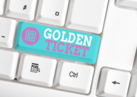 Writing note showing Golden Ticket. Business concept for Rain Check Access VIP Passport Box Office Seat Event White pc keyboard with note paper above the white background
