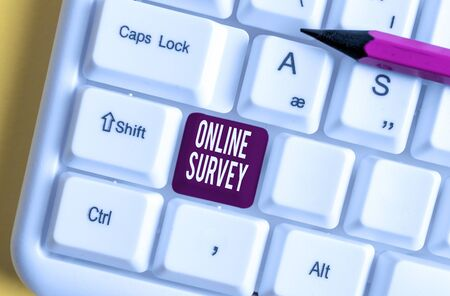 Handwriting text writing Online Survey. Conceptual photo Reappraisal Feedback Poll Satisfaction Rate Testimony White pc keyboard with empty note paper above white background key copy space