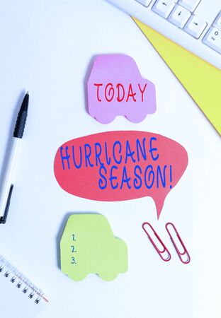 Conceptual hand writing showing Hurricane Season. Concept meaning time when most tropical cyclones are expected to develop Red bubble copy space paper on the table with clock
