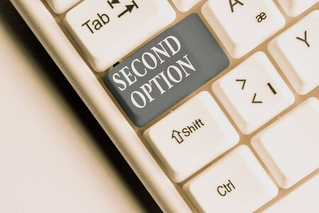 Text sign showing Second Option. Business photo text Next Fiddle Not a priority Next Alternative Opportunity White pc keyboard with empty note paper above white background key copy space