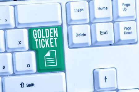 Conceptual hand writing showing Golden Ticket. Concept meaning Rain Check Access VIP Passport Box Office Seat Event White pc keyboard with note paper above the white background