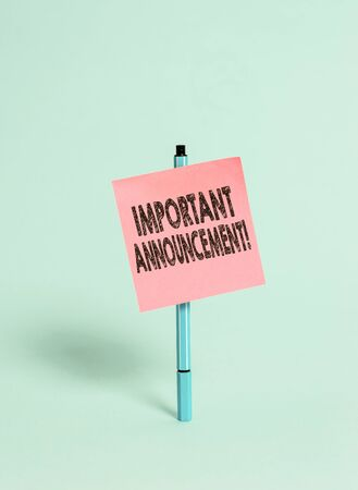 Handwriting text Important Announcement. Conceptual photo spoken statement that tells showing about something Ballpoint blank colored sticky note peaceful cool pastel fashion background