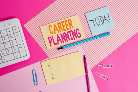 Handwriting text Career Planning. Conceptual photo Strategically plan your career goals and work success Writing equipments and computer stuffs placed above colored plain table