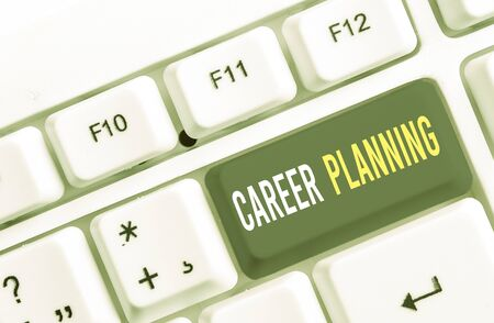 Writing note showing Career Planning. Business concept for Strategically plan your career goals and work success White pc keyboard with note paper above the white background Banque d'images