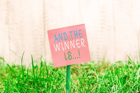 Writing note showing And The Winner Is. Business concept for announcing who got first place at competition or exam Plain paper attached to stick and placed in the grassy land