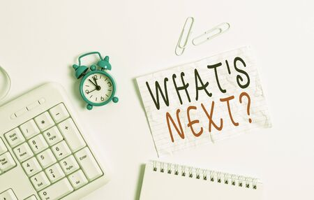 Writing note showing What S Next Question. Business concept for asking demonstrating about his coming actions or behaviors Blank paper with copy space on the table with clock and pc keyboard