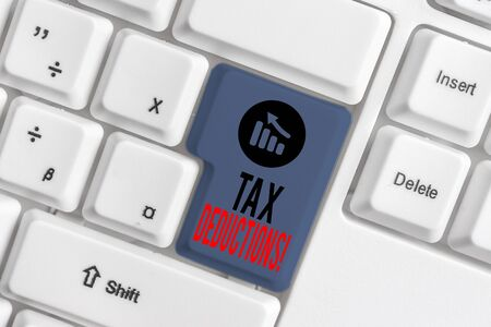 Handwriting text Tax Deductions. Conceptual photo reduction income that is able to be taxed of expenses White pc keyboard with empty note paper above white background key copy space Stock Photo