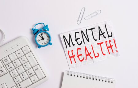 Writing note showing Mental Health. Business concept for demonstratings condition regard to their psychological well being Blank paper with copy space on the table with clock and pc keyboard 스톡 콘텐츠