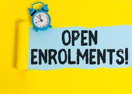 Word writing text Open Enrolments. Business photo showcasing when employees may make changes to elected fringe benefit 写真素材