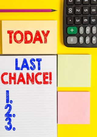 Writing note showing Last Chance. Business concept for final opportunity to achieve or acquire something you want Colored empty papers with copy space on the yellow background table Imagens