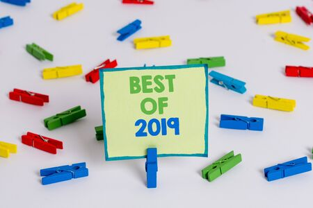 Conceptual hand writing showing Best Of 2019. Concept meaning great and marvelous things and events happened on 2019 Colored clothespin papers empty reminder white floor office