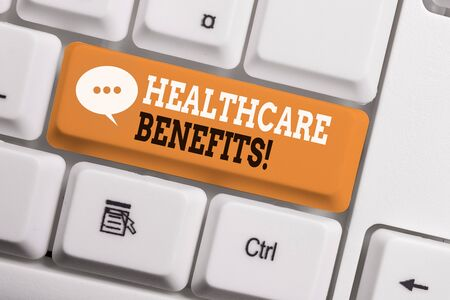 Text sign showing Healthcare Benefits. Business photo showcasing monthly fair market valueprovided to Employee dependents White pc keyboard with empty note paper above white background key copy space