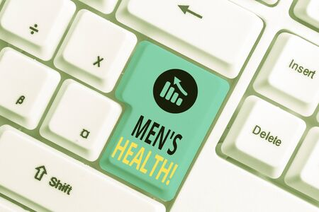 Word writing text Men S Health. Business photo showcasing state of complete physical mental and social well being by analysis White pc keyboard with empty note paper above white background key copy space