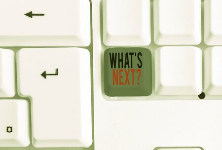 Text sign showing What S Next Question. Business photo text asking demonstrating about his coming actions or behaviors White pc keyboard with empty note paper above white background key copy space