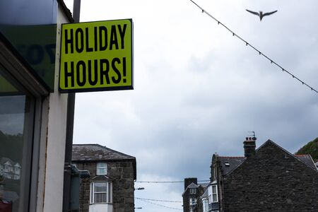 Writing note showing Holiday Hours. Business concept for Overtime work on for employees under flexible work schedules Green ad board on the street with copy space for advertisement