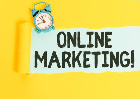 Word writing text Online Marketing. Business photo showcasing leveraging web based channels spread about companys brand 写真素材