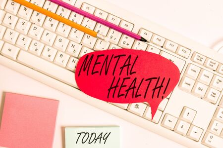 Word writing text Mental Health. Business photo showcasing demonstratings condition regard to their psychological well being Empty copy space red note paper bubble above pc keyboard for text message