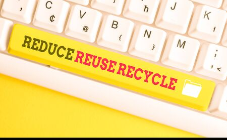Text sign showing Reduce Reuse Recycle. Business photo text environmentallyresponsible consumer behavior White pc keyboard with empty note paper above white background key copy space Zdjęcie Seryjne