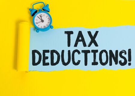 Word writing text Tax Deductions. Business photo showcasing reduction income that is able to be taxed of expenses