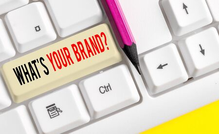 Word writing text What S Your Brand Question. Business photo showcasing asking about product logo does or what you communicate White pc keyboard with empty note paper above white background key copy space Stock Photo