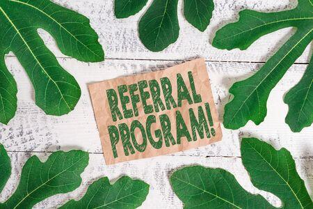 Word writing text Referral Program. Business photo showcasing internal recruitment method employed by organizations