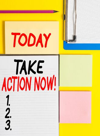 Conceptual hand writing showing Take Action Now. Concept meaning do something official or concerted achieve aim with problem Empty papers with copy space on yellow background table