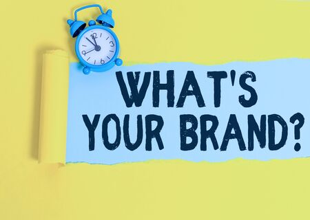 Word writing text What S Your Brand Question. Business photo showcasing asking about product logo does or what you communicate