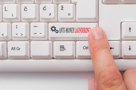 Conceptual hand writing showing Anti Money Laundering. Concept meaning regulations stop generating income through illegal actions White pc keyboard with note paper above the white background Imagens
